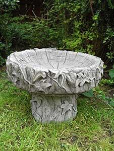 Log Stone Bird Bath