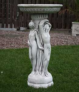 Three Graces Stone Bird Bath