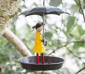Girl With Umbrella Bird Feeder
