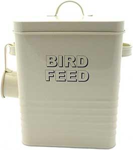 Cream Metal Bird Food Storage
