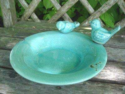 Ceramic Crackle Bird Bath