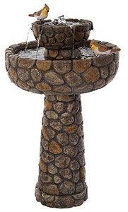 Cobbled Solar Bird Bath