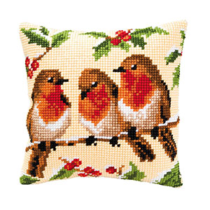 Robin Cross Stitch Cushion