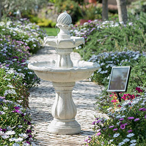 Round Tiered Solar Bird Bath