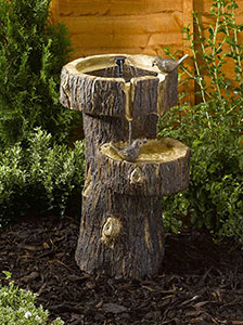 Solar Tree Trunk Bird Bath