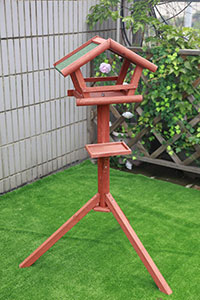 Wooden Bird Table With Asphalt Roof