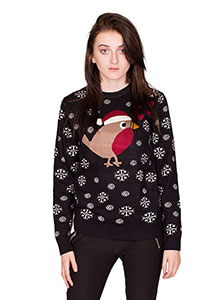 Black Christmas Robin Jumper With Snowflakes