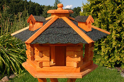 Hexagonal Wooden Bird Table