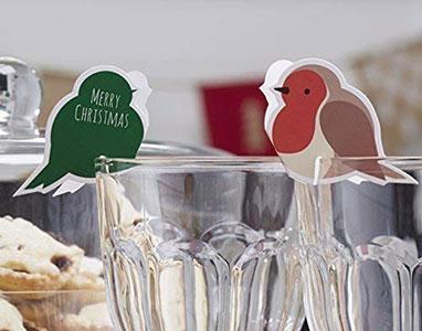 Christmas Robin Wine Glass Decorations
