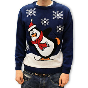 Skating Penguin Christmas Jumper