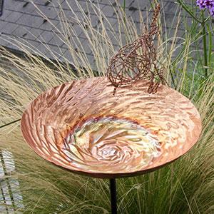 Copper Spiral Bird Bath