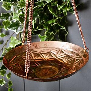 Hanging Flower Copper Bird Bath
