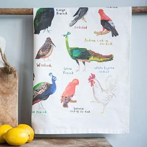 'Cocks' Illustrated Bird Tea Towel