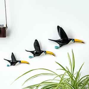 Set Of Three Handmade Ceramic Flying Toucans