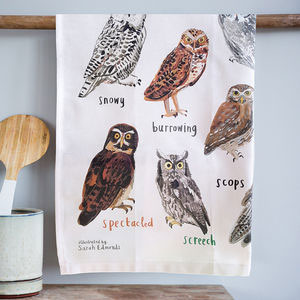 'Hooters' Illustrated Bird Tea Towel