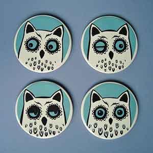 Ceramic Owl Coasters