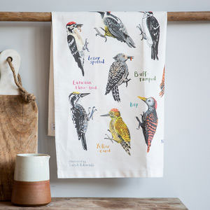 'Peckers' Illustrated Bird Tea Towel