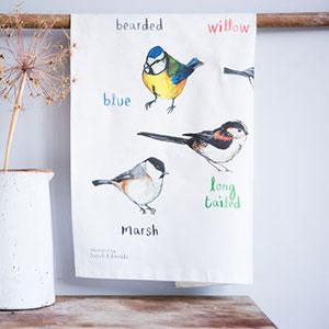 'Tits' Illustrated Bird Tea Towel