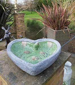 Heart Shaped Dipper Bird Bath