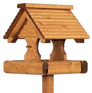 Riverside Woodcraft Rustic Timber Roof Bird Table
