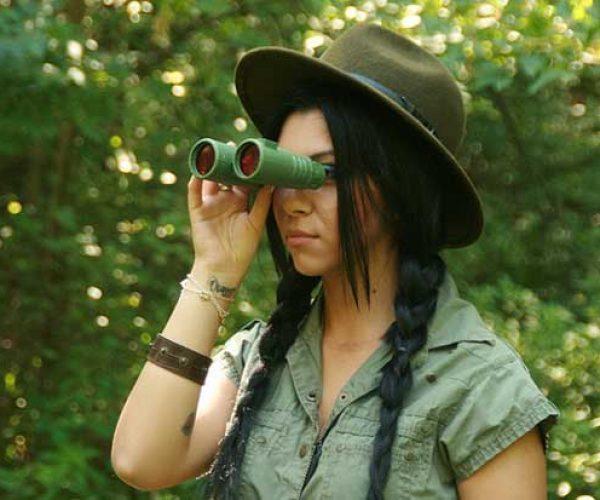 Bird Watching Girl In Hat