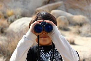 Boy Using Binoculars